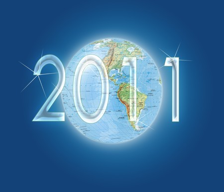 Globe on blue background and written two thousand and eleven photo