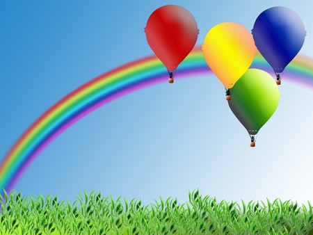 Illustration for children with balloons and rainbow