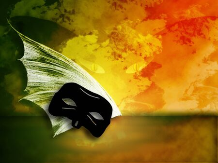 grunge background with mask and bat wings photo