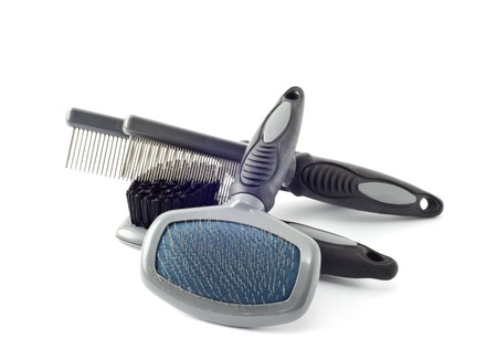 grooming: acessories for the grooming of the dog Stock Photo