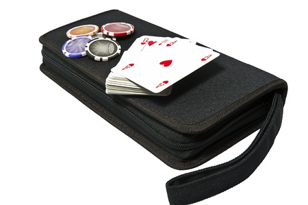 bag with the game of poker on a white background photo