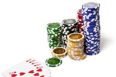 Royal Flush poker and fisches on white background Standard-Bild