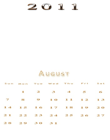 Monthly calendar of 2011 in English on colored background photo
