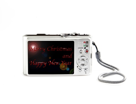 good wishes: a digital camera with good wishes written on white background Stock Photo