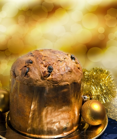 cake on  and bokeh  background and Christmas decorations photo