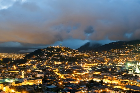 Night of the historical center of Quito, the capital of Ecuador