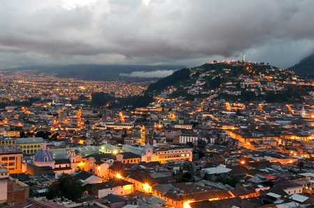 overview: Overview of the historical center of Quito at sunset Stock Photo