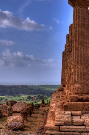 hight: Hight Dynamic Range image of the valley of the temples in Sycilia Stock Photo