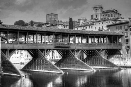 hdr background: Old bridge of Bassano del Grappa in black and white Stock Photo