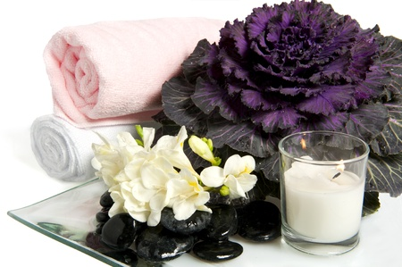 Rocks, flowers,flowering cabbage, fans and towels on white background photo