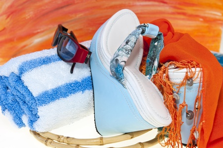 Women's sandals and beach accessories on a white background Stock Photo - 9149071