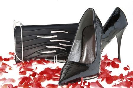designer bag: elegant Italian shoes for women on white background