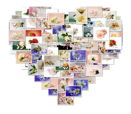 collage of Wedding Favors and wedding rings photo  photo