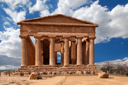 ruins is ancient: Temple of Concordia in the Valley of the Temples in Agrigento