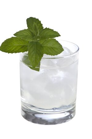 A glass of mint leaves with water and ice 版權商用圖片