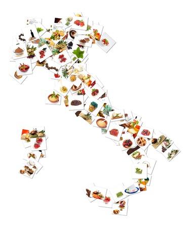 restaurante italiano: Collage con fotos de alimentos sobre fondo blanco Foto de archivo