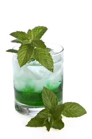 whitw: glass with water, mint and ice on whitw background Stock Photo
