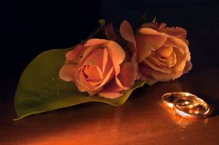Roses and wedding rings on dark wood background