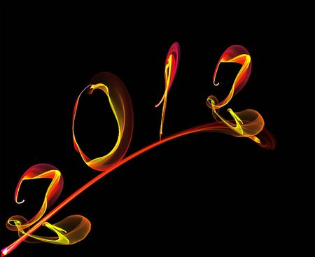 balck: new year with rainbow smoke a balck background Stock Photo