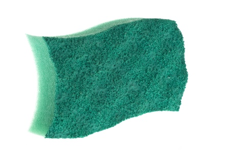 scouring sponge to wash the dishes on a white background
