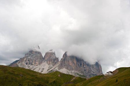 sella: Panorama of the Sella Pass in the Italian Dolomites