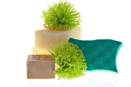 Marseille soap and sponges on white background