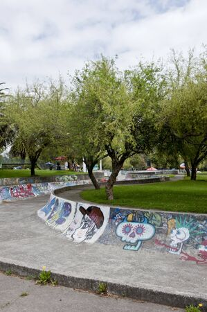 Skateboarding with graffiti in the public gardens in Quito Stock Photo - 11994219
