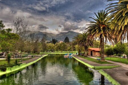 views of the beautiful public gardens in Quito
