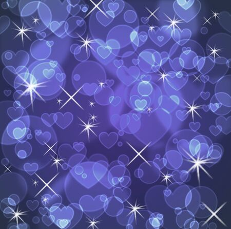 Blue background with stars and hearts and bokeh effect 版權商用圖片