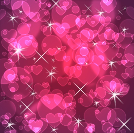 pink hearts: Blue background with stars and hearts and bokeh effect Stock Photo