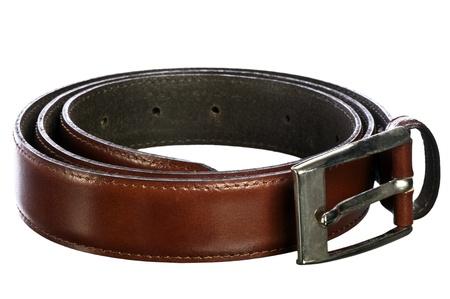 Italian leather belt for men on white background