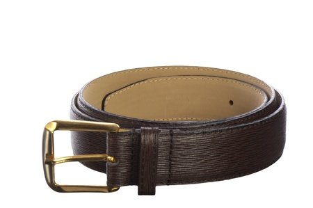 Italian leather belt for men on white background photo