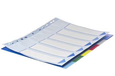 classifier: colored separator sheets on  a white background