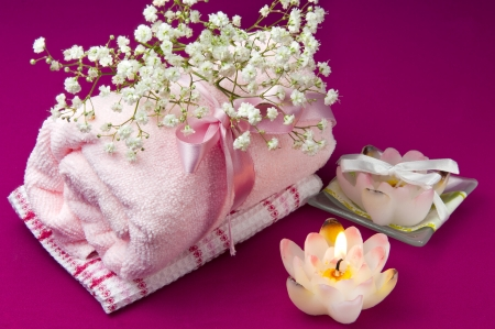 scented products for body care on colored background photo