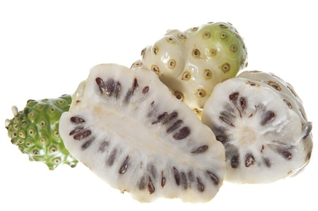 morinda citrifolia fruit on a white background photo