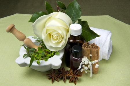 natural products for body care on colored background photo