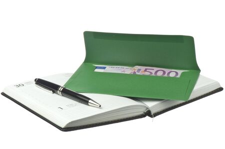monthly salary: calendar, pen and colored envelopes with Euros on white background