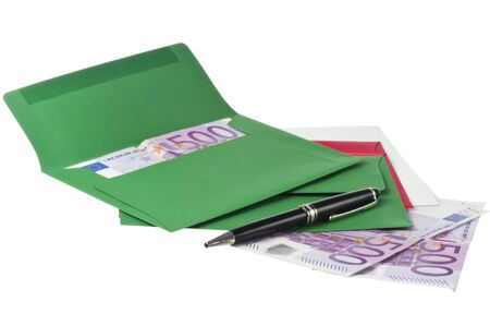 end month: Colored envelope with Euros on white background