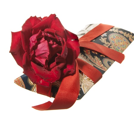 gift package and red roses for valentine day photo