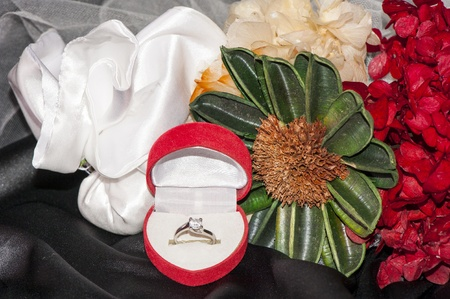 Flowers and diamond ring for a Valentine photo