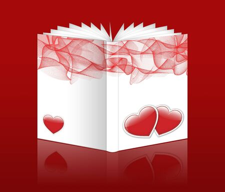 A Valentine book on a red background photo