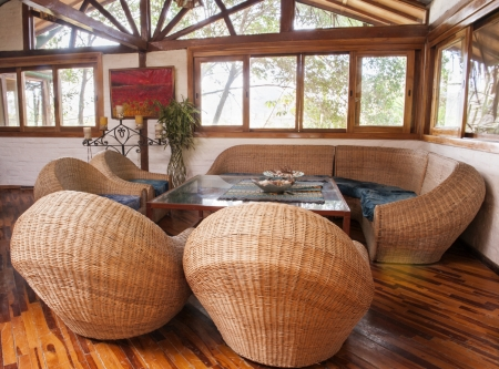 A living room in bamboo in a house in Ecuador