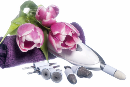 nail polish and tools  for manicure on  elegant fabric photo