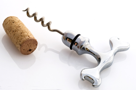 closed corks: A corkscrew spiral in steel on white background