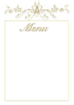 wedding table setting: a wedding menù on a white background Stock Photo