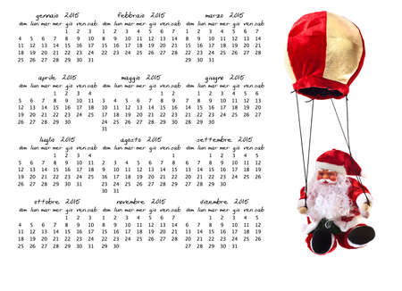 yearly: montly and yerly christmas calendear on white background Stock Photo