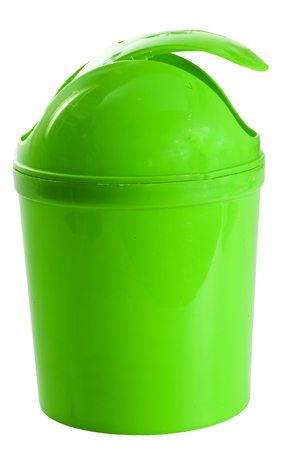 dumpster: a small green plastic container for waste