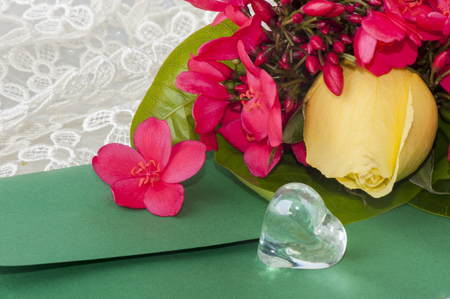 Flowers and crystal hearts for a Valentines Day