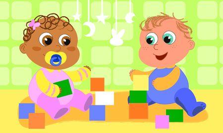 nenes jugando: Dos beb�s cute de razas diferentes est�n jugando juntos.