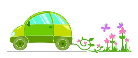Ecological illustration with stylized green car.  image. Vector
